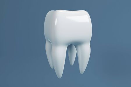 Image of a tooth on a blue background. Dentist background. 3D rendering. Фото со стока