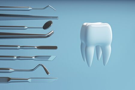 Image of a tooth on a blue background with a dentists tools. Dentist set tools for inspect of the teeth. 3D rendering.