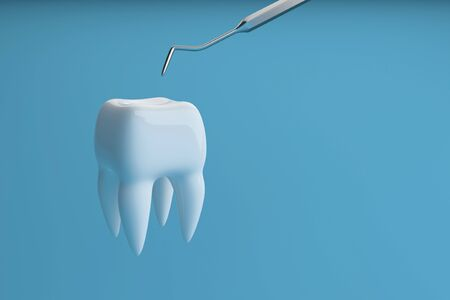 Image of a tooth on a blue background with a dentist tool. Dentist tool for inspect of the teeth. 3D rendering.