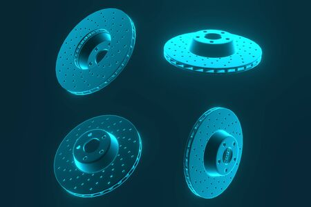 3D rendering. Auto parts for passenger car, new brake disk. Spare parts brake disk for brake system Standard-Bild