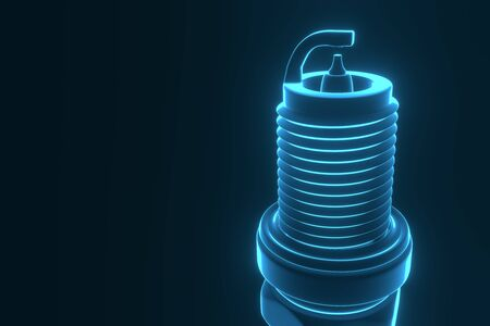 Spare parts spark plugs on blue background for car and motorcycle. New auto parts spark plug. 3D rendering