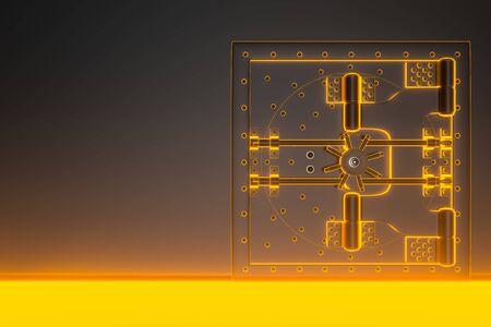 Vorderansicht der hellgoldenen Banktresortür, geschlossen. Die Tür zum Banktresor mit vielen geheimen Mechanismen und Passwörtern. 3D-Rendering