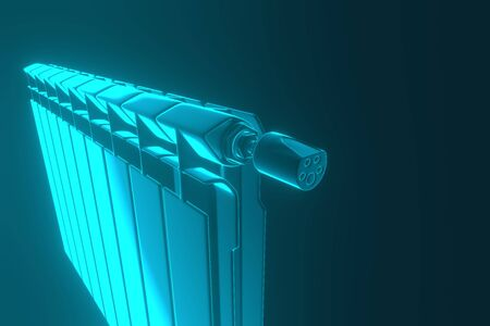 3D rendering. Central heating radiators with many sections. Many heating radiators on blue background.