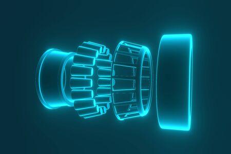 3D-Rendering. Kfz-Lager Auto-Ersatzteile. Kegelrollenlager auf blauem Hintergrund isoliert. Radlager für LKW, Schwerlast und PKW.