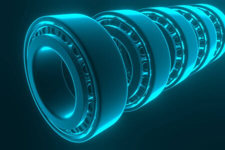 3D rendering. Automotive bearings auto spare parts. Tapered roller bearing isolated on a blue background. Wheel bearing for truck, heavy duty and car. Stok Fotoğraf