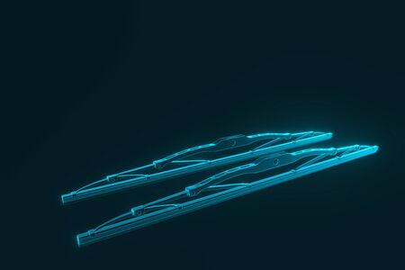 3D rendering. Windscreen wiper blade on a blue background. Wiper blade for car. Spare parts, auto parts for driver safety. Wiper blade helps when it rains. Protection from rain cleaner wiper blade. Reklamní fotografie