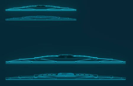 3D rendering. Windscreen wiper blade on a blue background. Wiper blade for car. Spare parts, auto parts for driver safety. Wiper blade helps when it rains. Protection from rain cleaner wiper blade.