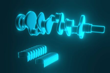 3D rendering. Crankshaft for 6v cylinders engine. Truck crankshaft on blue background. Engine bearing crankshaft.