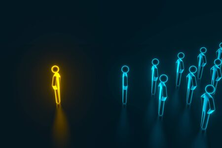 Concept leader of the business team indicates the direction of the movement towards the goal. Crowd of blue men goes for the leader of the gold color. 3D rendering Banco de Imagens