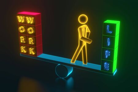 The balance of work and life. Figurine of a businessman standing on the scales, on the one hand work, on the other hand life. 3D rendering
