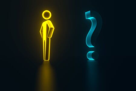 3d gold businessman opposite a question mark. Man business concept. 3d person with a blue question mark. 3d rendering