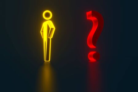 3d gold businessman opposite a question mark. Man business concept. 3d person with a red question mark. 3d rendering Banco de Imagens - 130967120