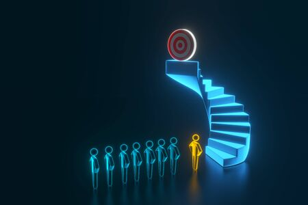 3d team businessman going to the target on top of the stairs. The concept of the start of work and the ultimate goal of the team. 3d rendering