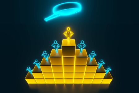 View through a magnifying glass at 3d businessmen. 3d Figures of people who stand on cubes in the form of a ladder. 3d rendering
