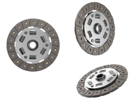 Spare parts for car and truck clutch disk. Transmission auto parts. 3d rendering Stock fotó
