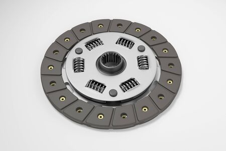 Spare parts for car and truck clutch disk. Transmission auto parts. 3d rendering Фото со стока