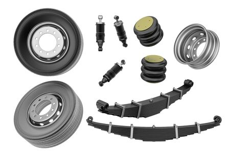 Many new auto parts for commercial transport truck. Spare parts for suspension truck. Truck parts air spring, tire and shock absorber. 3d rendering Reklamní fotografie