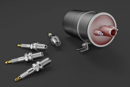 Igniter coil, Ignition and glowplug system. Igniter coil on black background. 3d rendering Stock fotó