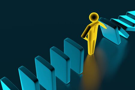 Man figure stopping the domino effect. Executive and risk control concept. 3D rendering Фото со стока