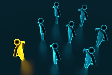 Concept leader of the business team indicates the direction of the movement towards the goal. Crowd of blue men goes for the leader of the gold color. 3D rendering Stock fotó