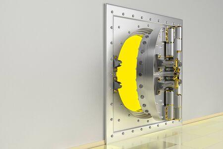 Front view of light gold bank vault door, open. The door to the bank vault with a lot of secret mechanisms and passwords. 3D Render