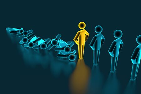 Concept of domino effect in business. Fall of the crumbling business is saved by special employee leader. The line of dominoes from the blue figures of the man is falling, one gold man stops the fall. 3d rendering
