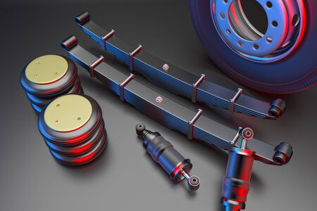 Many new auto parts for commercial transport truck. Spare parts for suspension truck. Truck parts air spring, tire and shock absorber. 3d rendering