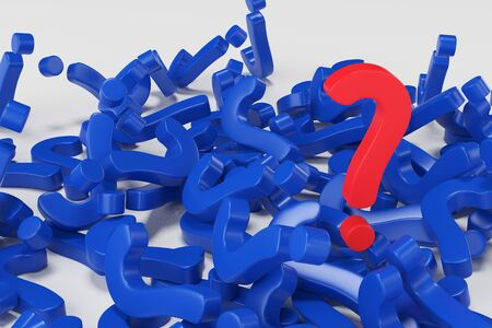 Red question mark on a mountain of question marks. FAQ concept. 3d rendering
