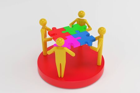 Businesspeople Analyzing Market Segment. Different groups of 3D men occupy different shares in the business schedule. 3d rendering