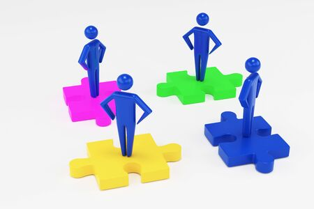 Four 3d man are standing on pieces of the puzzle. Teamwork concept. 3d people 3d rendering