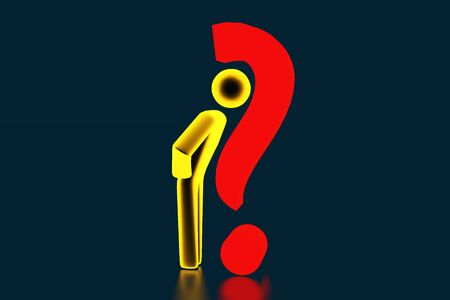 3d gold businessman opposite a question mark. Man business concept. 3d person with a red question mark. 3d rendering Banque d'images