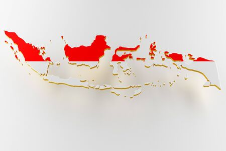 3D map of Indonesia. Map of Indonesia land border with flag. Indonesia map on white background. 3d rendering