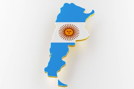 3D map of Argentina. Map of Argentina land border with flag. Argentina map on white background. 3d rendering