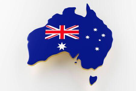 3D map of Australia. Map of Australia land border with flag. Australia map on white background. 3d rendering