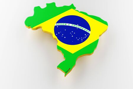 3D map of Brazil. Map of Brazil land border with flag. Brazil map on white background. 3d rendering