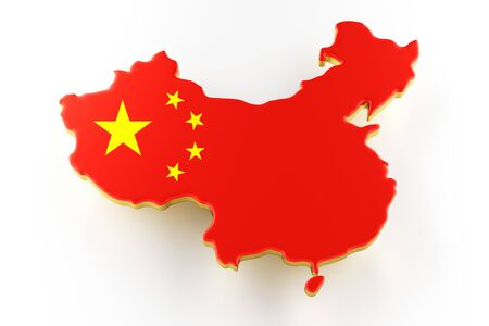 3D map of China. Map of China land border with flag. China map on white background. 3d rendering Stock Photo