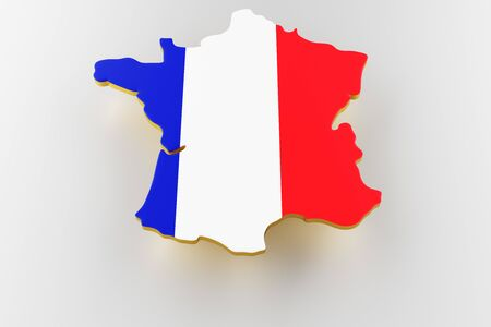 3D map of France. Map of France land border with flag. France map on white background. 3d rendering