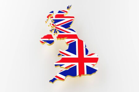 3D map of Great Britain. Map of Great Britain land border with flag. Great Britain map on white background. 3d rendering Stock Photo