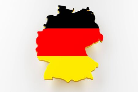 3D map of Germany. Map of Germany land border with flag. Germany map on white background. 3d rendering