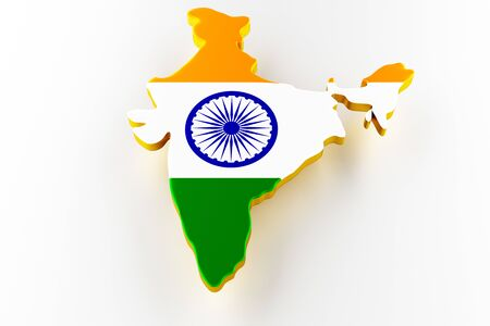 3D map of India. Map of India land border with flag. India map on white background. 3d rendering