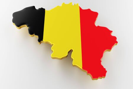 3D map of Belgium. Map of Belgium land border with flag. Belgium map on white background. 3d rendering Stock Photo