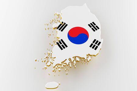 3D map of Korea. Map of Korea land border with flag. Korea map on white background. 3d rendering