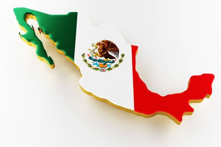 3D map of Mexico. Map of Mexico land border with flag. Mexico map on white background. 3d rendering