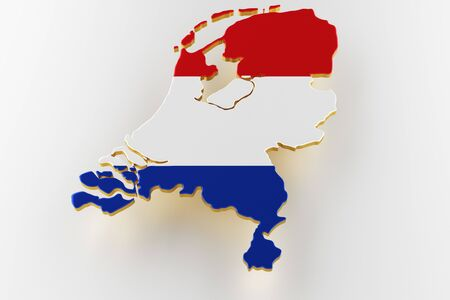 3D map of Netherlands. Map of Netherlands land border with flag. Netherlands map on white background. 3d rendering
