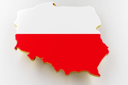 3D map of Poland. Map of Poland land border with flag. Poland map on white background. 3d rendering