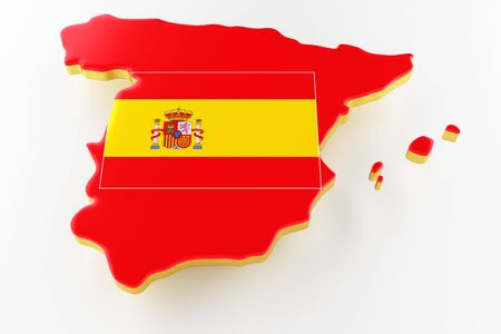 3D map of Spain. Map of Spain land border with flag. Spain map on white background. 3d rendering