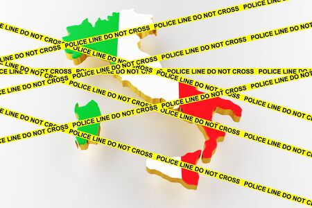 Italy crime concept, police investigation. 3D map of Italy. Map of Italy land border with flag. 3d rendering