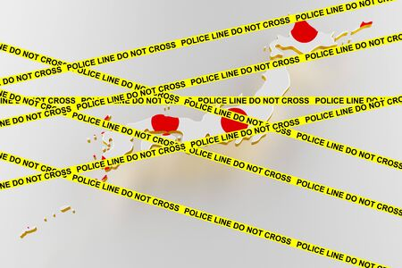 Japan crime concept, police investigation. 3D map of Japan. Map of Japan land border with flag. 3d rendering