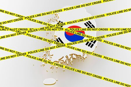Korea crime concept, police investigation. 3D map of Korea. Map of Korea land border with flag. 3d rendering
