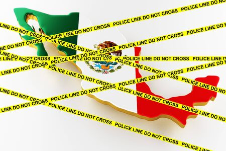 Mexico crime concept, police investigation. 3D map of Mexico. Map of Mexico land border with flag. 3d rendering